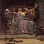 John William Waterhouse (6 April 1849 — 10 February 1917)  Circe Offering the Cup to Ulysses  Oil on canvas, 1891  149 cm × 92 cm (59 in × 36 in)  Oldham Art Gallery, Oldham, United Kingdom