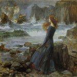 John William Waterhouse (6 April 1849 — 10 February 1917)  Miranda  Oil on board, 1916  18 3/4 x 23 3/4 in  Pivate collection