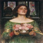John William Waterhouse (6 April 1849 — 10 February 1917)  Gather Ye Rosebuds While Ye May  Oil on canvas, 1908  61.6 cm × 45.7 cm (24.3 in × 18.0 in)  Private collection