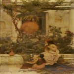 John William Waterhouse (6 April 1849 — 10 February 1917)  At Capri  Oil on canvas, 1890  84 x 47 cm  Location unknown