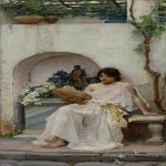 John William Waterhouse (6 April 1849 — 10 February 1917)  Flora  Oil on canvas, 1891  28 3/4 by 13 in  Location unknown