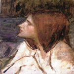 John William Waterhouse (6 April 1849 — 10 February 1917)  Head of a Girl  Oil on canvas, circa 1896  35 x 25 cm  Private collection