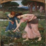 John William Waterhouse (6 April 1849 — 10 February 1917)  Gather Ye Rosebuds While Ye May  Oil on canvas, 1909  100 cm × 83 cm (39.5 in × 32.5 in)  Odon Wagner Gallery, Toronto, Canada