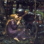 John William Waterhouse (6 April 1849 — 10 February 1917)  La Belle Dame Sans Merci (Study)  Oil on canvas, circa 1893  36.8 x 29.5 cm  Private collection