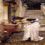 John William Waterhouse (6 April 1849 — 10 February 1917)  The Shrine  Oil on canvas, 1895  88 x 42 cm  Private collection