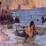 John William Waterhouse (6 April 1849 — 10 February 1917)  The Merman  Oil on canvas, circa 1892  17 x 29 in  Private collection