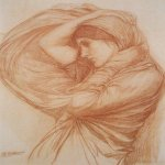John William Waterhouse (6 April 1849 — 10 February 1917)  Boreas (Study)  Chalk on paper, circa 1904  20 x 16.5 in  Private collection