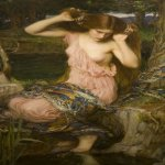 John William Waterhouse (6 April 1849 — 10 February 1917)  Lamia  Oil on canvas, 1909  36 x 22.5 in  Private collection