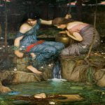 John William Waterhouse (6 April 1849 — 10 February 1917)  Nymphs finding the Head of Orpheus  Oil on canvas, 1900  149 x 99 cm  Private collection