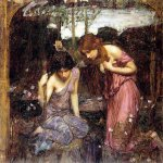 John William Waterhouse (6 April 1849 — 10 February 1917)  Nymphs finding the Head of Orpheus (Study)  Oil on canvas, circa 1900  Private collection