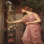 John William Waterhouse (6 April 1849 — 10 February 1917)  Psyche Opening the Door into Cupid's Garden  Oil on canvas, 1904  109 x 71 cm  Harris Museum and Art Gallery, Preston, Lancashire, UK