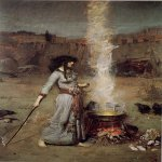 John William Waterhouse (6 April 1849 — 10 February 1917)  The Magic Circle  Oil on canvas, 1886  183 cm × 127 cm (72 in × 50 in)  Tate Britain, London, UK