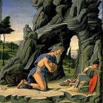 Marco Zoppo (1433 - 1498)   Saint Jerome in the Wilderness  Poplar panel, c. 1460-70  39 x 29 cm  Museo Thyssen-Bornemisza, Madrid, Spain