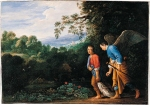 Adam Elsheimer (18 March 1578 – 11 December 1610) Tobias and the Archangel Raphael returning with the Fish mid-17th century Oil on copper,  19.3 x 27.6 cm National Gallery, London, UK