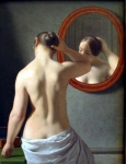 Christoffer Wilhelm Eckersberg (2 January 1783 – 22 July 1853) Woman Standing in Front of a Mirror Oil on canvas,  1841 33.5 × 26 cm (13.2 × 10.2 in) The Hirschsprung Collection, Art museum, Copenhagen, Denmark