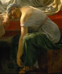 Christoffer Wilhelm Eckersberg (2 January 1783 – 22 July 1853) A sleeping woman in antique costume Oil on canvas,  1813 Statens Museum for Kunst, National gallery, Copenhagen, Denmark
