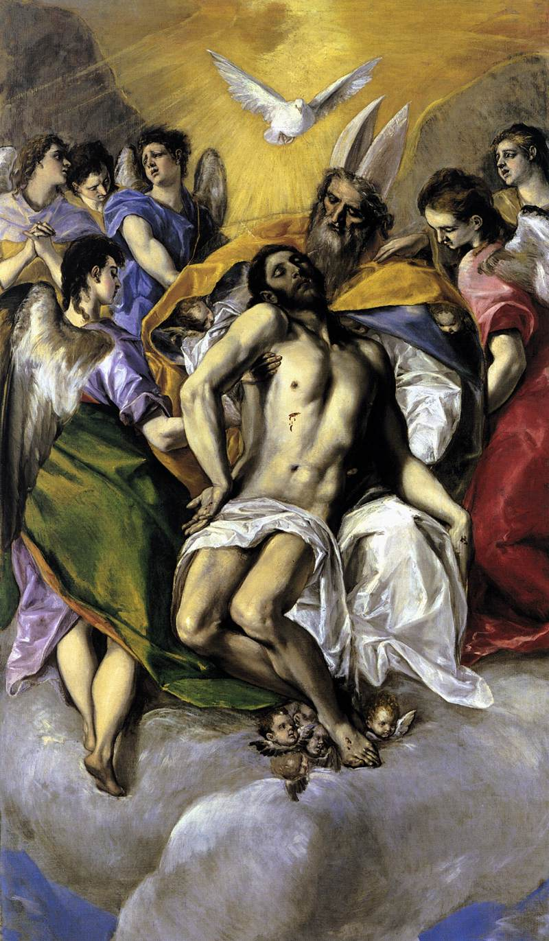 El Greco (1541-1614)  The Holy Trinity  Oil on canvas, 1577  118 x 70 3/8 inches (300 x 179 cm)  Museo del Prado, Madrid, Spain