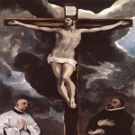 El Greco (1541-1614)  Christ on the Cross Adored by Donors   Oil on canvas, 1585-1590  98 3/8 x 70 3/4 inches (250 x 180 cm)  Musée du Louvre, Paris, France