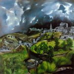 El Greco (1541-1614)  View of Toledo  Oil on canvas  47 3/4 x 42 3/4 inches (121.3 x 108.6 cm)  Metropolitan Museum of Art, Manhattan, New York, USA