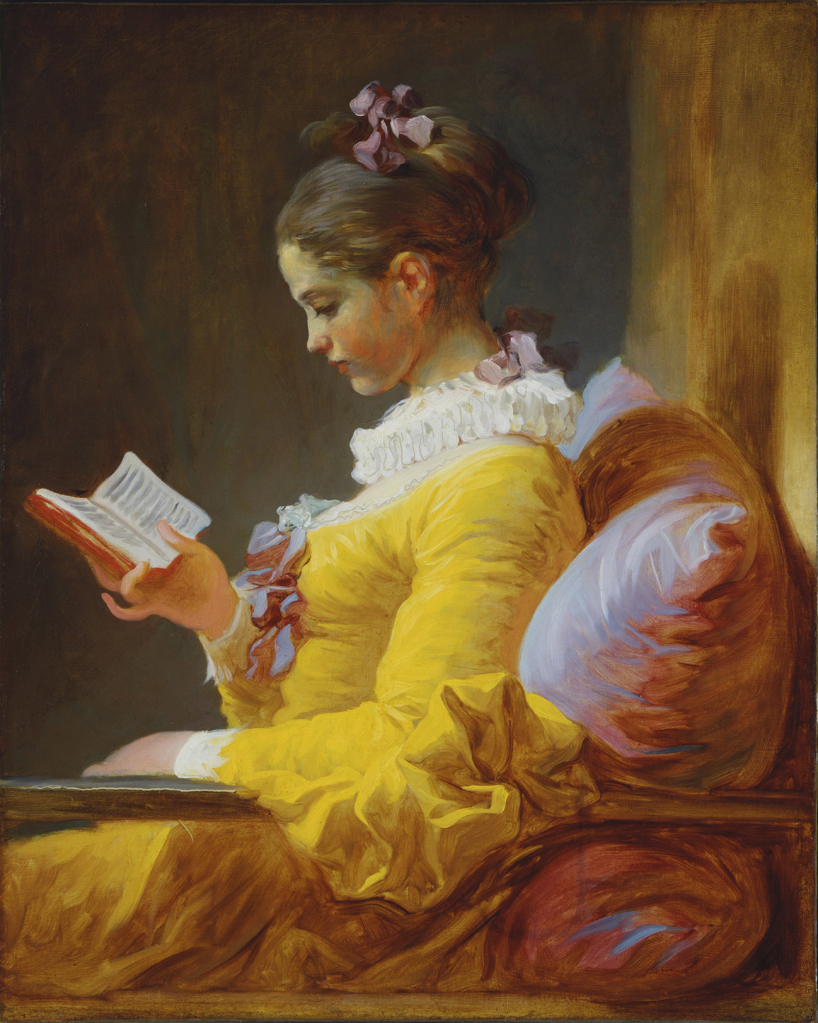 Jean-Honore Fragonard (1732-1806)  A Young Girl Reading  Oil on canvas, c.1776  32 1/4 x 25 1/2 inches (82 x 65 cm)  National Gallery of Art, Washington, DC, USA