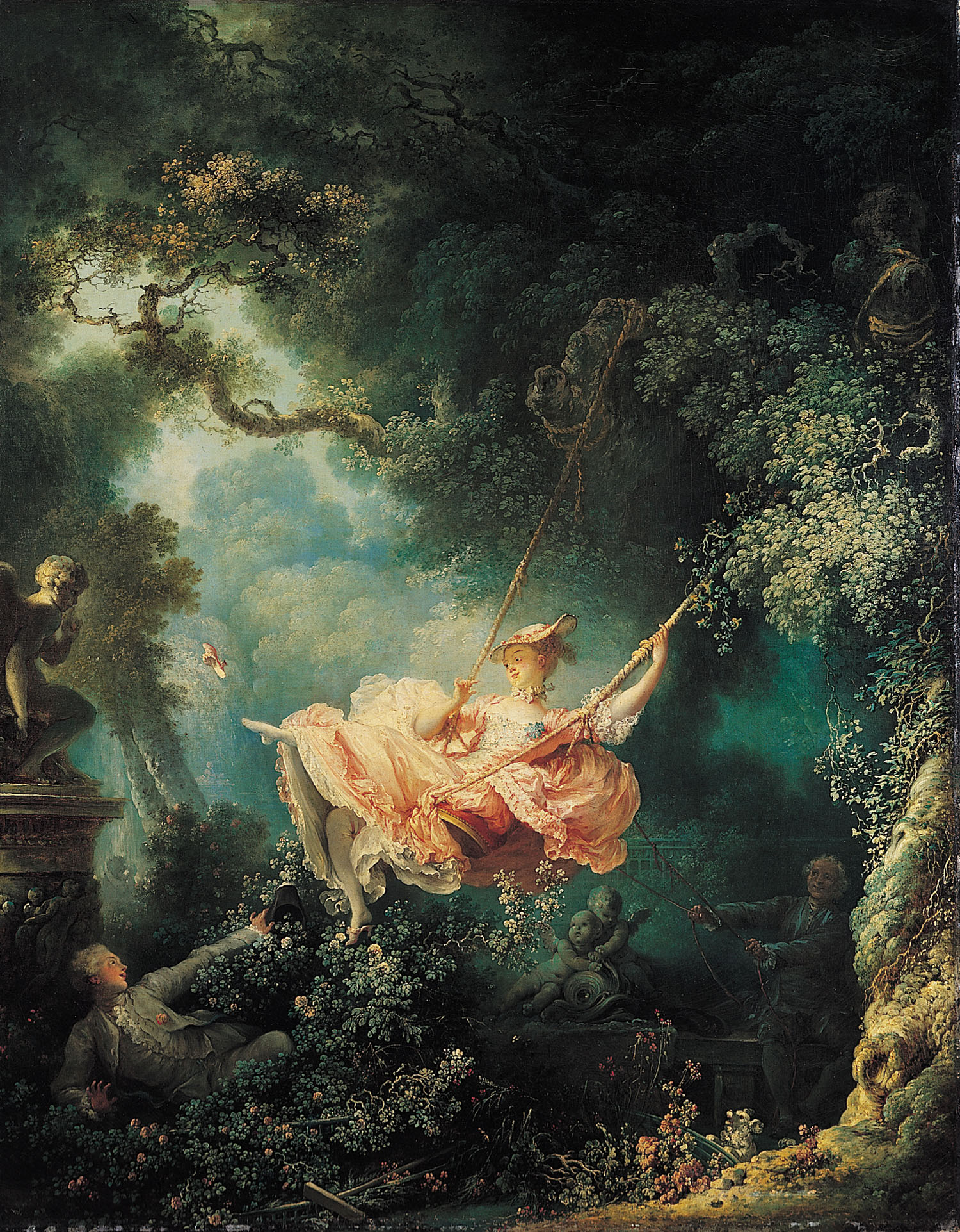 Jean-Honore Fragonard (1732-1806)  The Swing  Oil on canvas, 1767  31 7/8 x 25 1/8 inches (81 x 64 cm)  Wallace Collection, London, England