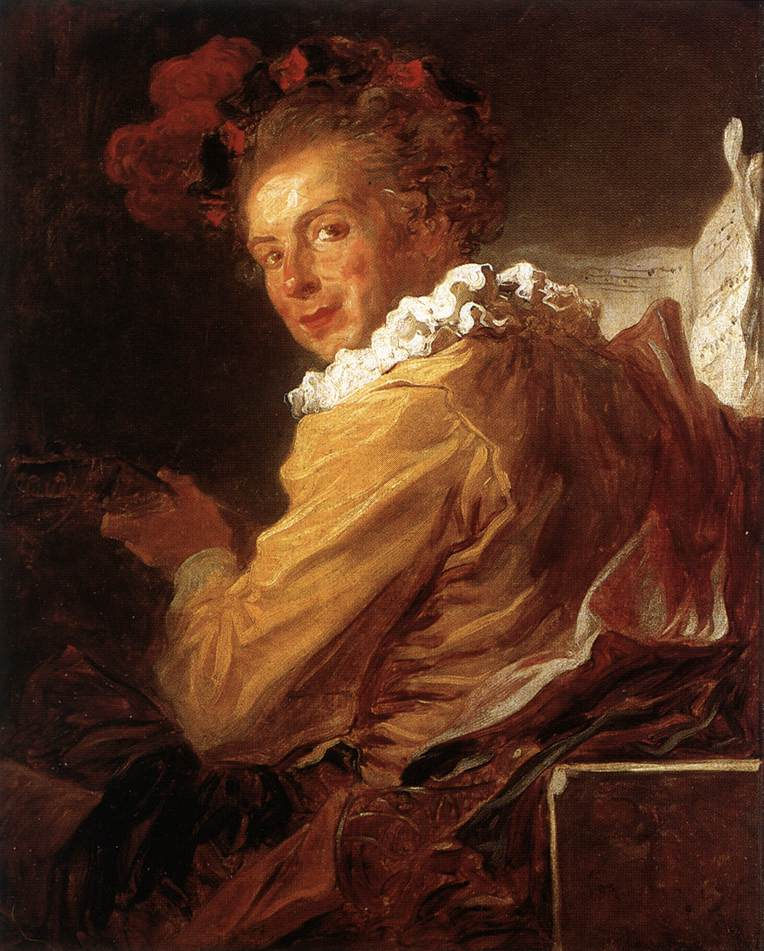 Jean-Honore Fragonard (1732-1806)  Man Playing an Instrument (The Music)  Oil on canvas, 1769  31 3/8 x 25 1/2 inches (80 x 65 cm)  Musée du Louvre, Paris, France