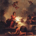 Jean-Honore Fragonard (1732-1806)  Adoration of the Shepherds  Oil on canvas, c.1775  28 5/8 x 36 1/2 inches (73 x 93 cm)  Musйe du Louvre, Paris, France