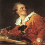 Jean-Honore Fragonard (1732-1806)  Inspiration  Oil on canvas, 1769  Musée du Louvre, Paris, France
