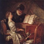 Jean-Honore Fragonard (1732-1806)  Music Lesson  Oil on canvas, c.1769  43 1/4 x 47 1/8 inches (110 x 120 cm)  Musée du Louvre, Paris, France