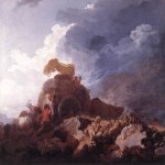 Jean-Honore Fragonard (1732-1806)  The Storm  Oil on canvas, c.1759  28 5/8 x 38 1/8 inches (73 x 97 cm)  Musée du Louvre, Paris, France
