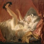 Jean-Honore Fragonard (1732-1806)  Young Woman Playing with a Dog  Oil on canvas, 1765-1772  27 1/2 x 34 1/4 inches (70 x 87 cm)  Fondation Cailleux, Paris, France