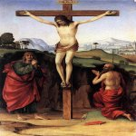 Francesco Francia (1450-1517)  Crucifixion with Sts John and Jerome  Panel, 1485  20 3/8 x 13 1/8 inches (52 x 33.5 cm)  Private collection