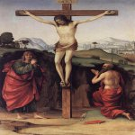 Francesco Francia (1450-1517)  Crucifixion with Sts John and Jerome  Oil on wood, 1485  20 3/8 x 13 1/8 inches (52 x 33.5 cm)  Private collection