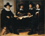 Gerbrand van den Eeckhout (August 19, 1621 – September 29,1674) Four Officers of the Amsterdam Coopers\' and Wine-rackers\' Guild Oil on canvas,  1657 163 x 197 cm National Gallery, London, UK