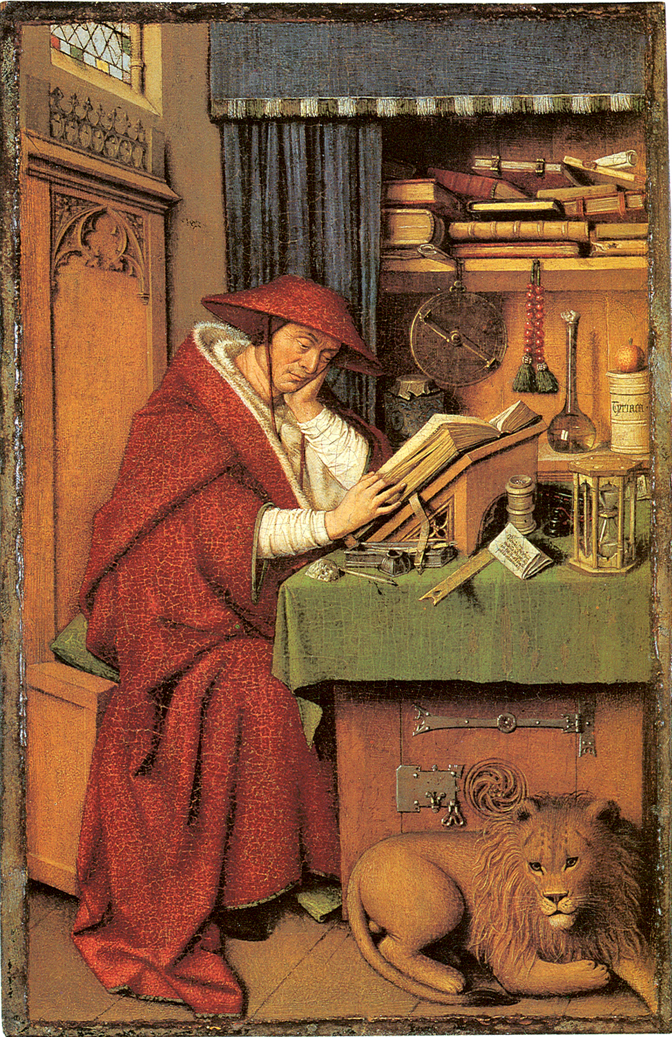 Jan van Eyck (about 1395-1441)  Saint Jerome in his Study  Oil on linen paper on panel, about 1435  20.6 x 13.3 cm (panel), 19.9 x 12.5 (painted surface)  Institute of Arts, Michigan, Detroit, USA