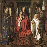 Jan van Eyck (about 1395-1441)  Paele Madonna  Oil on panel, about 1434-1436  122.1 x 157.8 cm (with original frame 140.8 x 176.7 cm)  Groeningemuseum, Bruges, Belgium