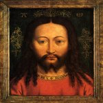 Copy after Jan van Eyck (about 1395-1441)  Salvator Mundi  Oil on panel, 1438 (original)  Staatliche Museen, Gemaldegalerie, Berlin, Germany
