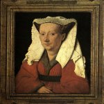 Jan van Eyck (about 1395-1441)  Portrait of Margareta van Eyck  Oil on panel, 1439  32.6 x 25.8 cm (with original frame 41.2 x 34.6 cm)  Groeningemuseum, Bruges, Belgium