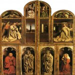 Jan van Eyck (about 1395-1441)  Ghent Altarpiece  Closed view, back panels  Oil on panel, 1432  375 x 260 cm  Cathedral of St Bavo, Ghent, Belgium