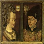 Jan van Eyck (about 1395-1441)  Portraits of Philip the Good and Isabella of Portugal  Oil on panel, about 1430  Museum voor Schone Kunsten, Ghent, Belgium