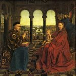 Jan van Eyck (about 1395-1441)  Rolin Madonna  Oil on panel, about 1430-1434  66 x 62 cm  Musee du Louvre, Paris, France