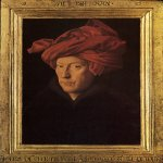 Jan van Eyck (about 1395-1441)  Portrait of a Man (Self Portrait?)  Oil on panel, 1433  25.5 cm × 19 cm (10.0 in × 7.5 in) (with original frame 33.3 x 25.8 cm)  National Gallery, London, UK