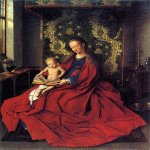 Jan van Eyck (about 1395-1441)  Madonna in a Room  Oil on panel, about 1433  National Gallery of Victoria, Melbourne, Australia