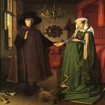 Jan van Eyck (about 1395-1441)  Arnolfini Portrait  Oil on panel, 1434  82.2 x 60 cm  National Gallery, London, UK